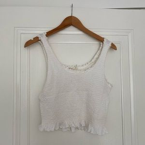 Anthropologie white cropped top
